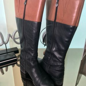Knee high riding boots two-tone